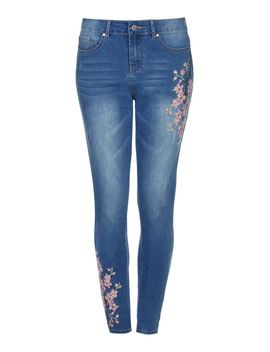 Cherry Blossom Embroidered Jeans by Yumi