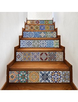 Yazi Peel And Stick Tile Backsplash Stair Riser Decals Diy Tile Decals Mexican Traditional Talavera Waterproof Home Decor Staircase Decal Stair Mural Decals 7''w X 39''l (Set Of 6) by Yazi