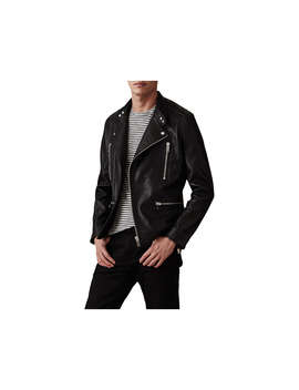 Reiss Hemming Quilted Leather Jacket, Black by Reiss