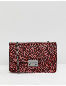 Bershka Animal Printed Bag With Chain Handle In Red by Bershka