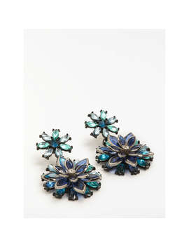 John Lewis Statement Glass Crystal Flower Drop Earrings, Turquoise/Navy by John Lewis