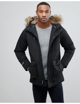 Hollister Padded Parka With Faux Fur Hood In Black by Hollister