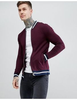 Asos Design Jersey Muscle Bomber Jacket In Burgundy With Striped Tipping by Asos Design