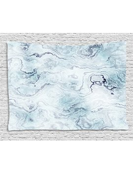 Ambesonne Marble Tapestry, Soft Pastel Toned Abstract Hazy Wavy Pattern With Ottoman Influences Image, Wall Hanging For Bedroom Living Room Dorm, 80 W X 60 L Inches, Light Blue Grey Mint by Ambesonne