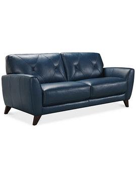 "Myia 82"" Leather Sofa, Created For Macy's by Myia Leather Sofa Collection, Created For Macy's"