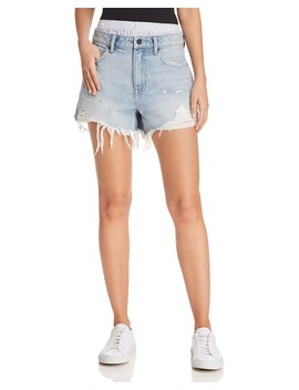 Bite Mix Layered Look Denim Shorts In Bleach by T By Alexander Wang