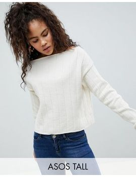 Asos Design Tall Eco Off Shoulder Cropped Jumper In Oversized Rib by Asos Design