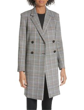 Wool Plaid Square Coat by Theory