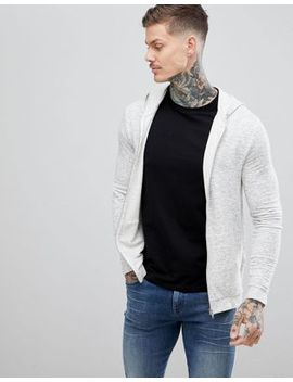 Asos Design Muscle Zip Up Hoodie In White Marl by Asos Design