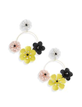 Flower Circle Drop Earrings by Topshop