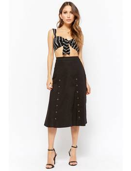 Linen Double Breasted Skirt by Forever 21
