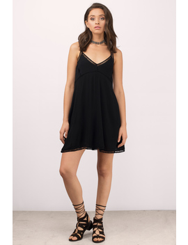 On Your Own Black Shift Dress by Tobi