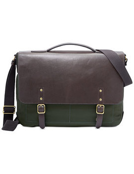 Men's Haskell Leather & Nylon Messenger Bag by Fossil