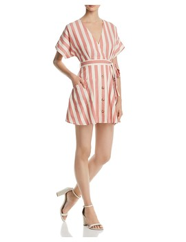 Button Detail Striped Dress   100 Percents Exclusive by Aqua