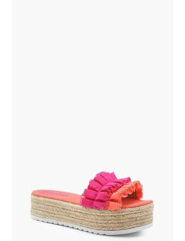 Contrast Ruffle Espadrille Flatforms by Boohoo
