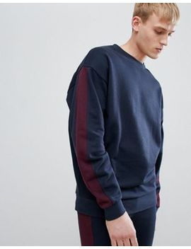 Asos Design Tracksuit Oversized Sweatshirt/Skinny Joggers With Side Stripe In Navy And Burgundy by Asos Design