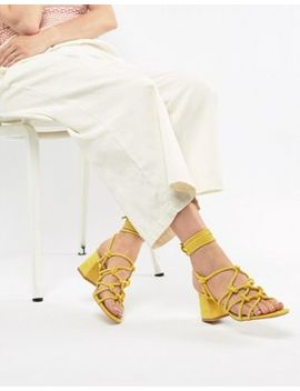 Public Desire Freya Yellow Mid Heeled Sandals by Public Desire