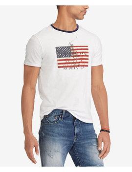 Men's American Flag Print Custom Slim Fit T Shirt by Polo Ralph Lauren