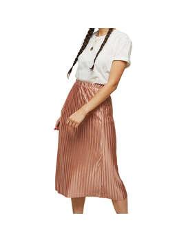Miss Selfridge Pleated Midi Skirt, Pink Metallic by Miss Selfridge