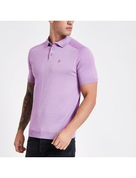 Lilac Slim Fit Wasp Knit Polo Shirt by River Island