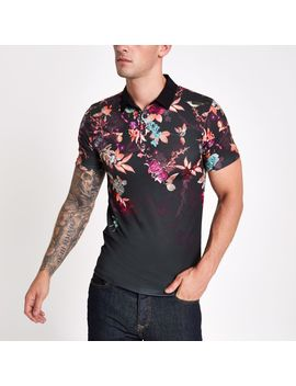 Black Muscle Fit Oriental Print Polo Shirt by River Island