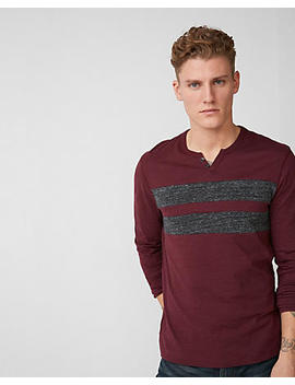 Pieced Stripe Notch Neck Henley by Express