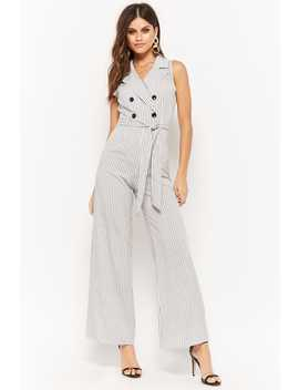 Striped Double Breasted Jumpsuit by Forever 21