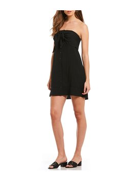 Strapless Button Down Tie Front Novelty Shirting Dress by Generic