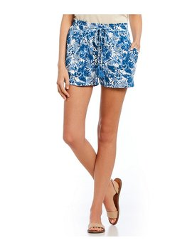 Tropical Print Tie Front Shorts by Generic