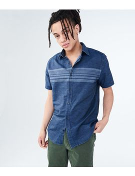 Chest Stripe Denim Woven Shirt by Aeropostale