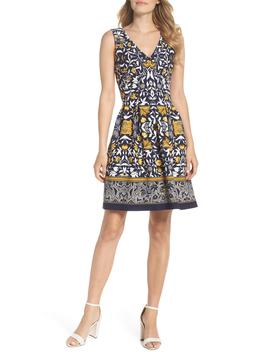 Print Scuba Crepe Fit & Flare Dress by Vince Camuto