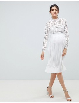 Little Mistress Maternity 3/4 Sleeve Lace Top Pleated Midi Dress by Little Mistress