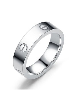Dubeauty Love Ring Lifetime Titanium Stainless Steel Couples Wedding Engagement Anniversary Engraved Bands Silver Size 5 10 by Dubeauty