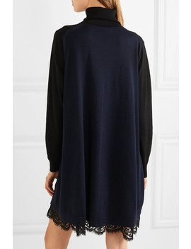 Lace Trimmed Wool Turtleneck Mini Dress by Sacai
