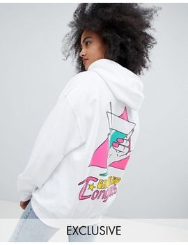 Crooked Tongues Oversized Hoodie In White With Holding Glass Print by Crooked Tongues
