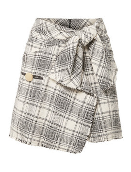 Wrap Effect Checked Bouclé Tweed Mini Skirt by Alexander Wang