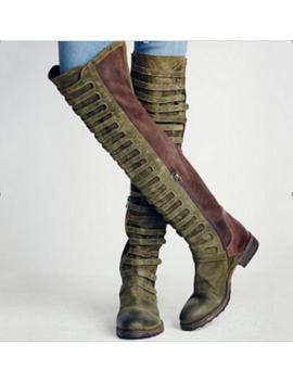 Lady Fashion Knee High Long Motorcycle Boots Sexy Flats Round Toe Martin Boots Z by Bonanza
