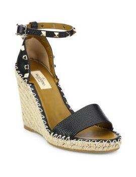 Rockstud Espadrille Wedge Sandals by Valentino Garavani