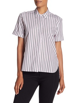 Paulette Striped Short Sleeve Button Down Shirt by Equipment