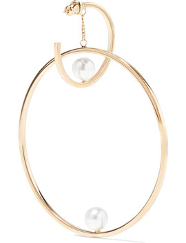 Darcey Gold Tone Faux Pearl Hoop Earrings by Chloé
