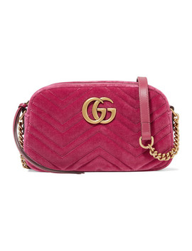 Gg Marmont Camera Mini Leather Trimmed Quilted Velvet Shoulder Bag by Gucci