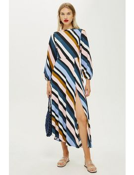 Striped Open Back Dress by Topshop