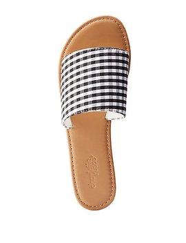 Gingham Slide Sandals by Charlotte Russe