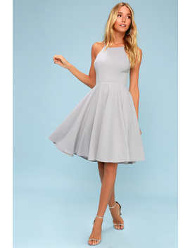 Irresistible Charm Grey Midi Dress by Lulu's