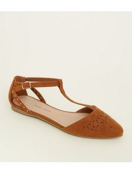 Teens Tan Suedette Laser Cut T Bar Pumps by New Look