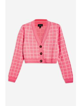 Check Cropped Cardigan by Topshop