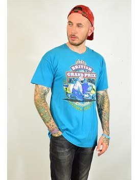Vintage 90s British Grand Prix Blue Print Festival T Shirt by North
