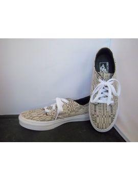 Vans   Women's Black/Beige Woven Geometric Pattern Skate Shoes   Size 8 by Vans