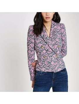 Pink Jacquard Double Breasted Fitted Jacket by River Island