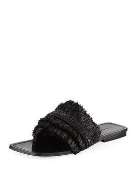 Avis Raffia Flat Slide Sandal by Sigerson Morrison